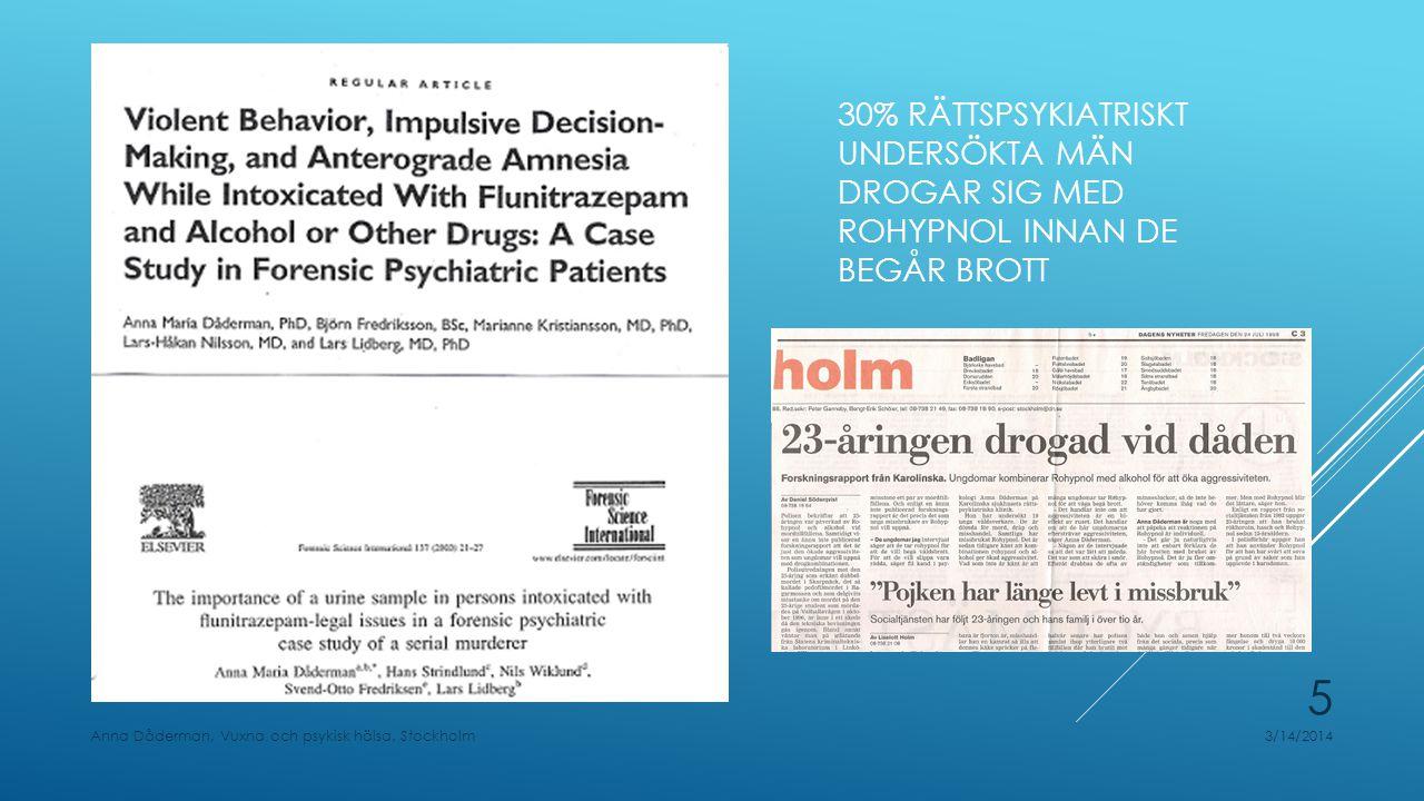 ROHYPNOL, SAMT FLUPAM OCH FLUSCAND, ÄR BORTA FRÅN DEN SVENSKA MARKNADEN, MEN DET FINNS LIKVÄRDIGT PREPARAT: FLUNITRAZEPAM MYLAN Biverkningar ska anmälas till Läkemedelsverket 3/14/2014Anna Dåderman, Vuxna och psykisk hälsa, Stockholm 6