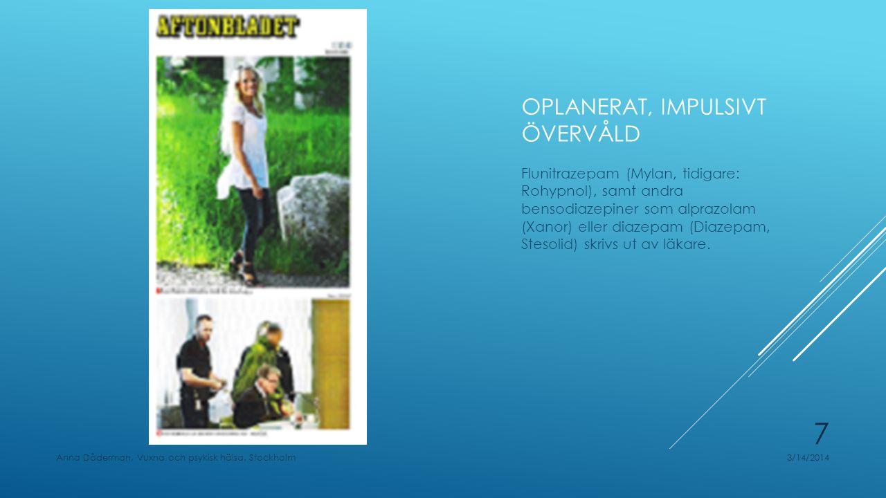 FLUNITRAZEPAM (MYLAN, TIDIGARE ROHYPNOL, FLUSCAN, FLUPAM) Uppgifter från Läkemedelsverket ur Världshälsoorganisationens biverkningsregister (2013).