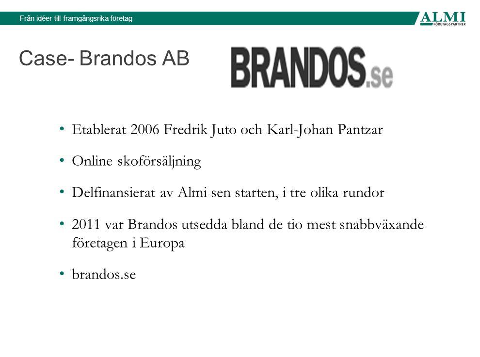 Från idéer till framgångsrika företag Case- Brandos AB • Etablerat 2006 Fredrik Juto och Karl-Johan Pantzar • Online skoförsäljning • Delfinansierat a