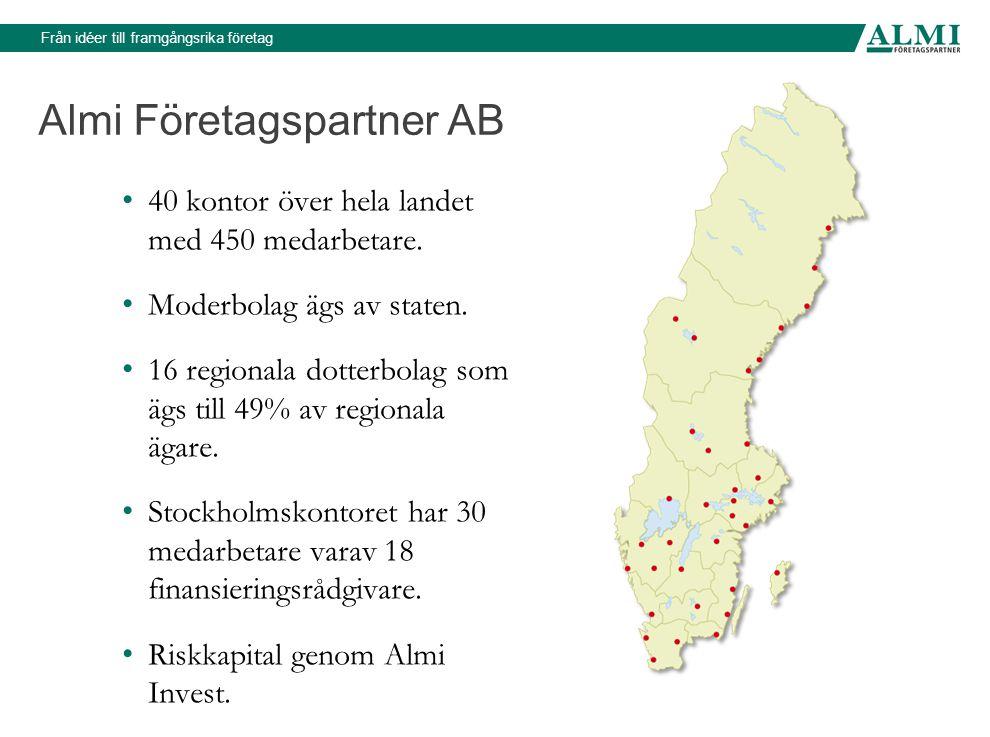 Almi Företagspartner AB • 40 kontor över hela landet med 450 medarbetare. • Moderbolag ägs av staten. • 16 regionala dotterbolag som ägs till 49% av r