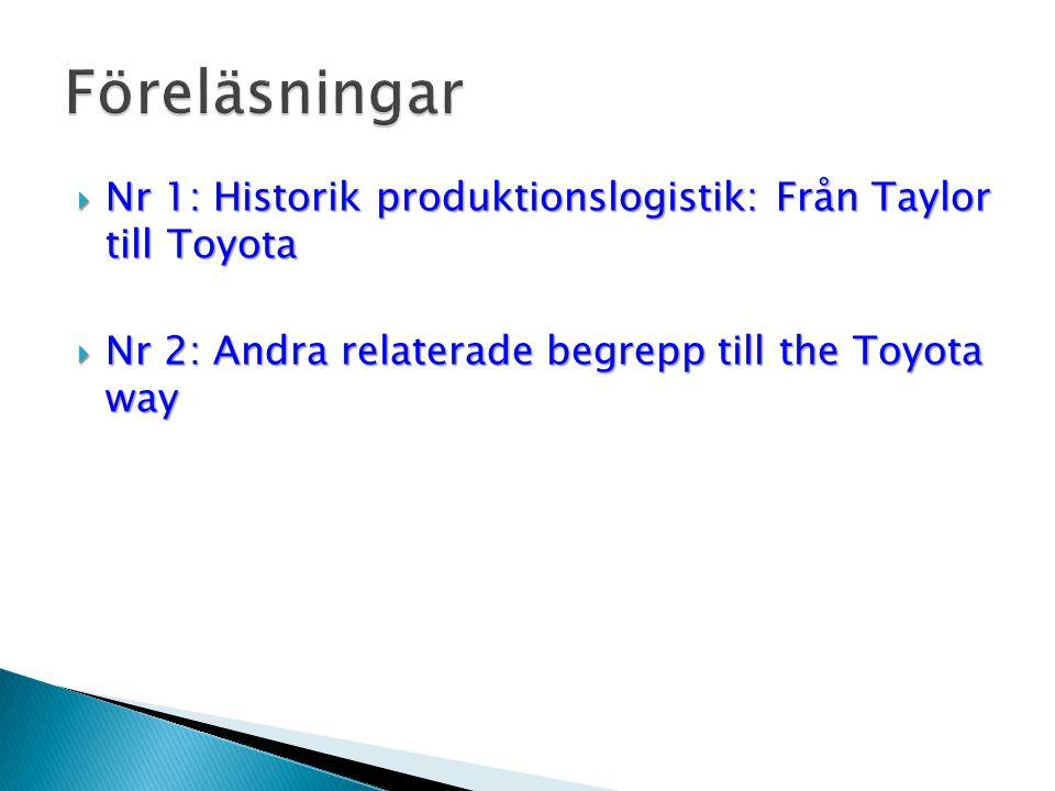  Nr 1: Historik produktionslogistik: Från Taylor till Toyota  Nr 2: Andra relaterade begrepp till the Toyota way