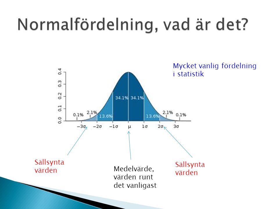 Medelvärde, värden runt det vanligast Sällsynta värden Mycket vanlig fördelning i statistik