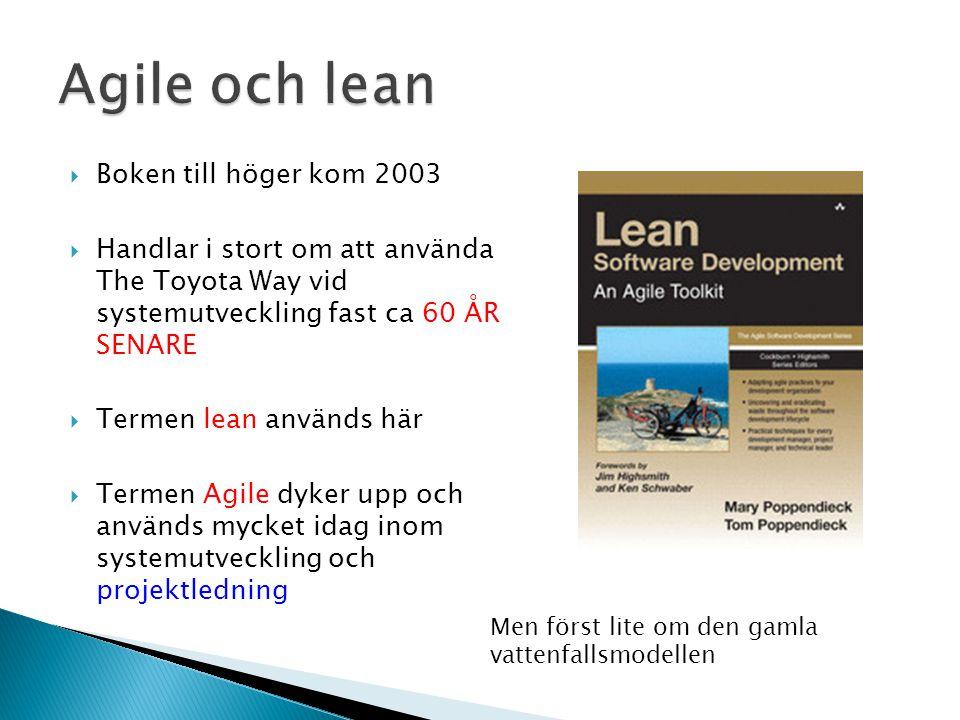  Boken till höger kom 2003  Handlar i stort om att använda The Toyota Way vid systemutveckling fast ca 60 ÅR SENARE  Termen lean används här  Termen Agile dyker upp och används mycket idag inom systemutveckling och projektledning Men först lite om den gamla vattenfallsmodellen