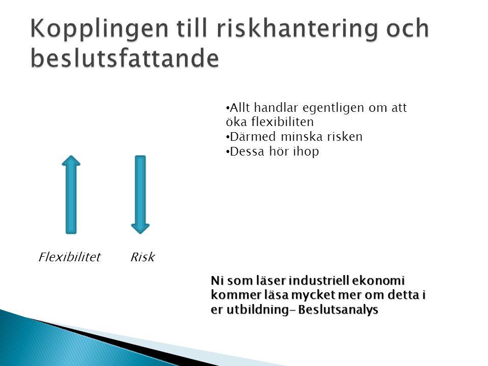 FlexibilitetRisk • Allt handlar egentligen om att öka flexibiliten • Därmed minska risken • Dessa hör ihop Ni som läser industriell ekonomi kommer läsa mycket mer om detta i er utbildning- Beslutsanalys