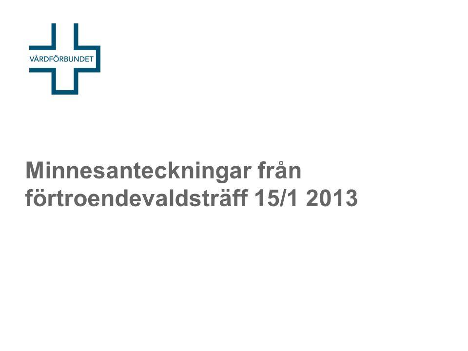Minnesanteckningar från förtroendevaldsträff 15/1 2013
