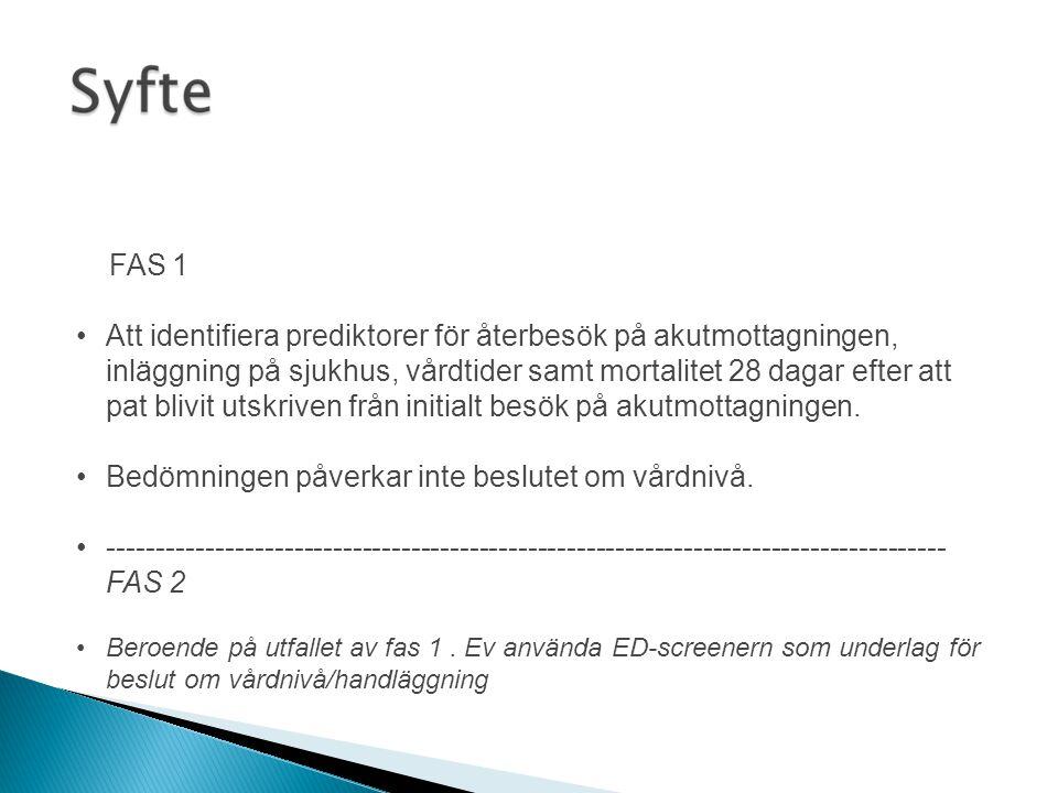 •En prospektiv observationsstudie av äldre patienter som söker på akutmottagningen, EPN-godkännande •interRAI-ED -formuläret fylls i av sjuksköterska på akutmottagningen •Susanne Hultin, Ulla Pettersson, Ulrika Pettersson, Anna Lahti (SY) •Ellinor Berglund, Nana Waldre'us (SÖS) •Patienter 75+ som söker på akutmottagningen förutom – De som ej förstår svenska – I terminalt skede – Akut sviktande funktion på vitala organ •28-dagarsuppföljning via journal/telefon