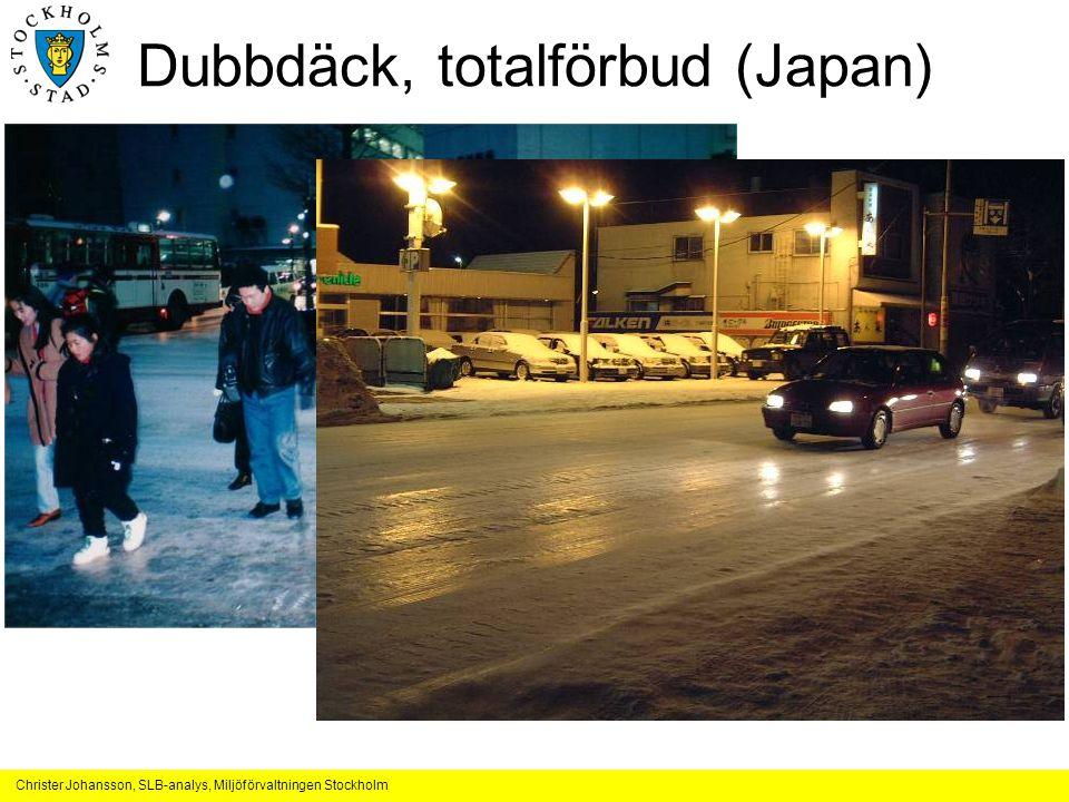 Christer Johansson, SLB-analys, Miljöförvaltningen Stockholm Dubbdäck, totalförbud (Japan)