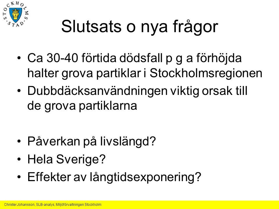 Christer Johansson, SLB-analys, Miljöförvaltningen Stockholm Slutsats o nya frågor •Ca 30-40 förtida dödsfall p g a förhöjda halter grova partiklar i