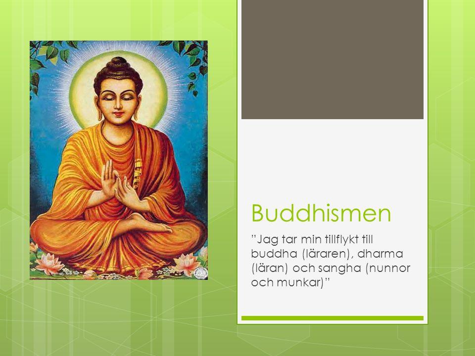 """Buddhismen """"Jag tar min tillflykt till buddha (läraren), dharma (läran) och sangha (nunnor och munkar)"""""""