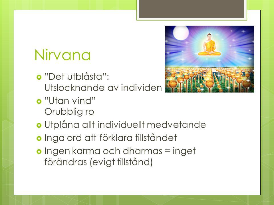 """Nirvana  """"Det utblåsta"""": Utslocknande av individen  """"Utan vind"""" Orubblig ro  Utplåna allt individuellt medvetande  Inga ord att förklara tillstånd"""