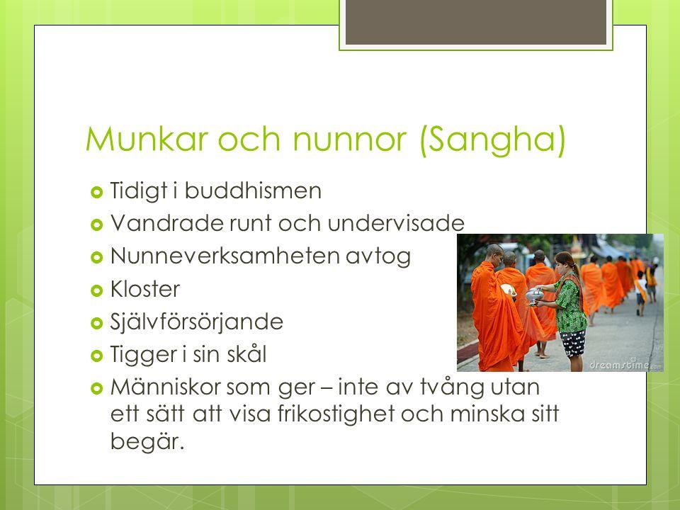 Munkar och nunnor (Sangha)  Tidigt i buddhismen  Vandrade runt och undervisade  Nunneverksamheten avtog  Kloster  Självförsörjande  Tigger i sin