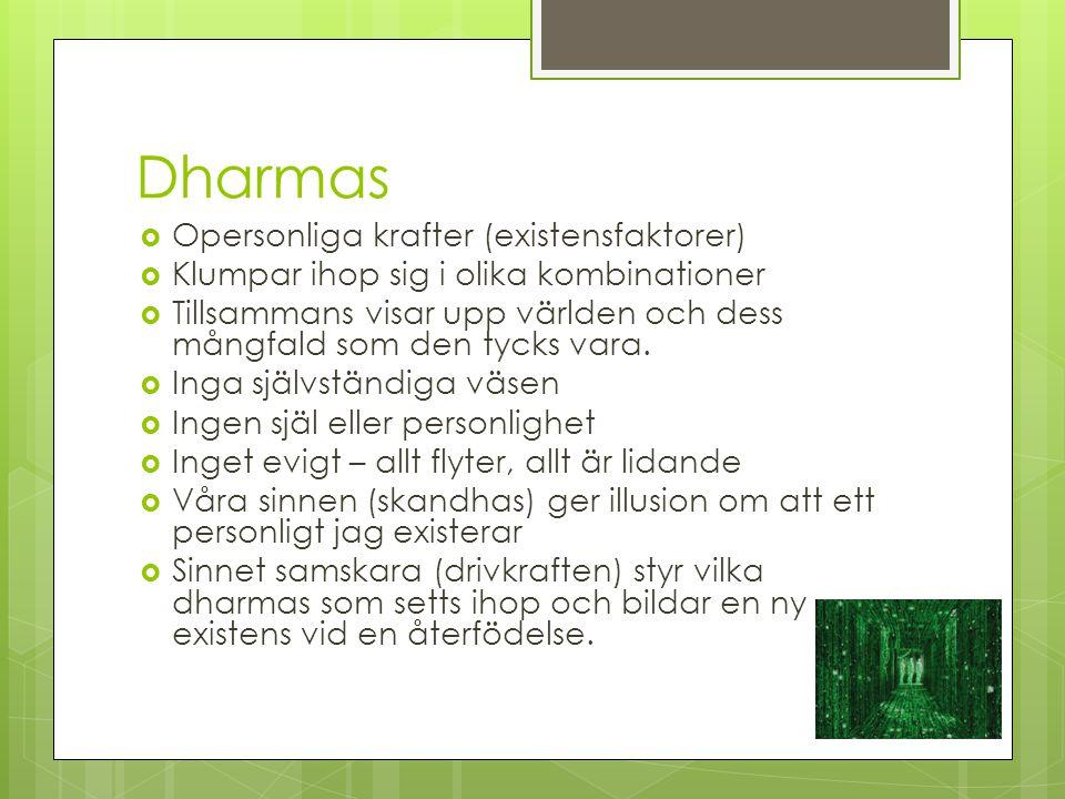Dharmas  Opersonliga krafter (existensfaktorer)  Klumpar ihop sig i olika kombinationer  Tillsammans visar upp världen och dess mångfald som den ty