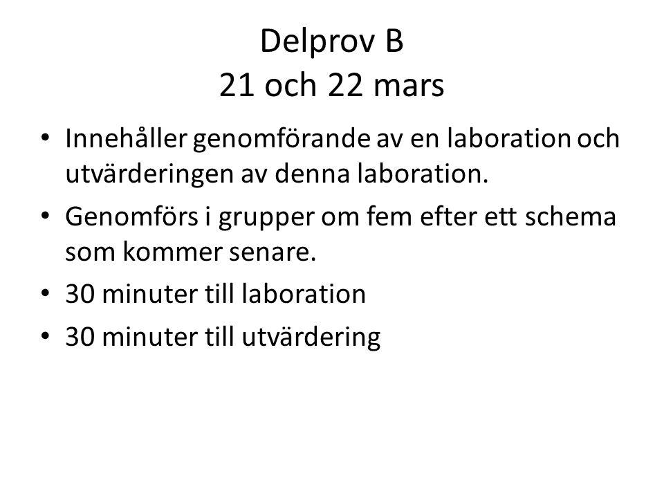 Delprov B 21 och 22 mars • Innehåller genomförande av en laboration och utvärderingen av denna laboration. • Genomförs i grupper om fem efter ett sche
