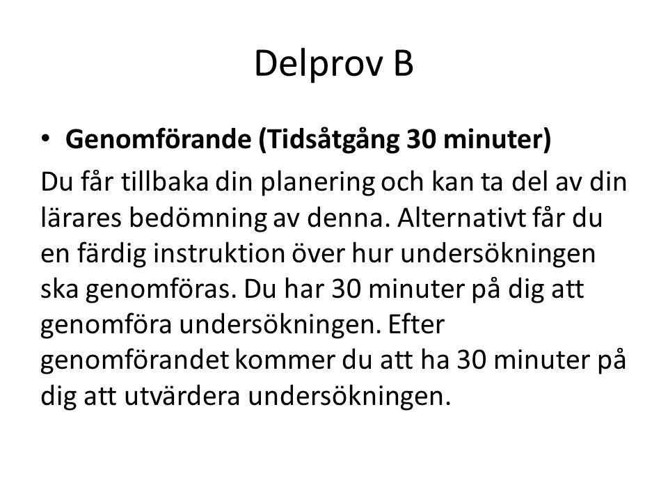 Delprov B • Genomförande (Tidsåtgång 30 minuter) Du får tillbaka din planering och kan ta del av din lärares bedömning av denna. Alternativt får du en