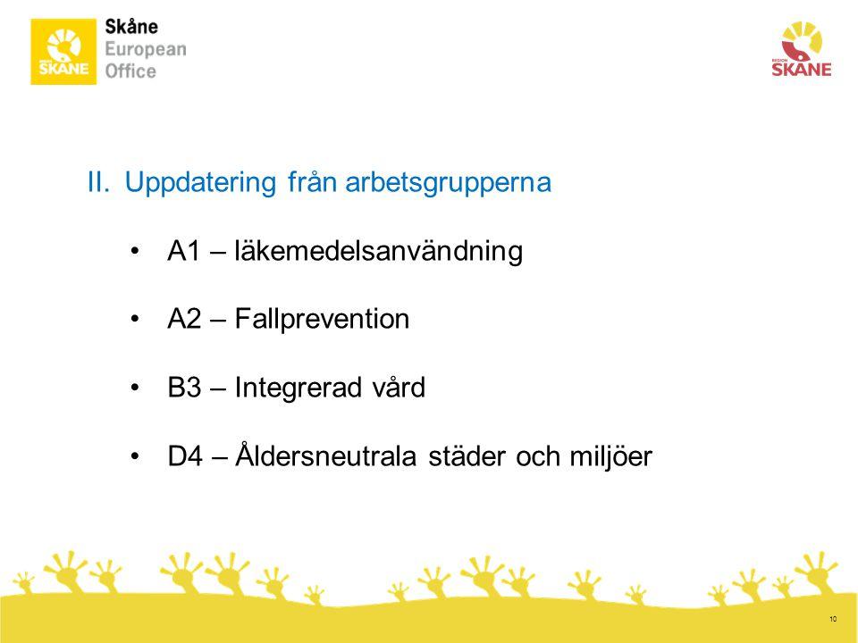 10 II.Uppdatering från arbetsgrupperna •A1 – läkemedelsanvändning •A2 – Fallprevention •B3 – Integrerad vård •D4 – Åldersneutrala städer och miljöer
