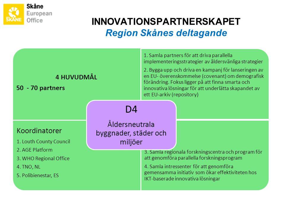 4 HUVUDMÅL 50 - 70 partners 1. Samla partners för att driva parallella implementeringsstrategier av åldersvänliga strategier 2. Bygga upp och driva en
