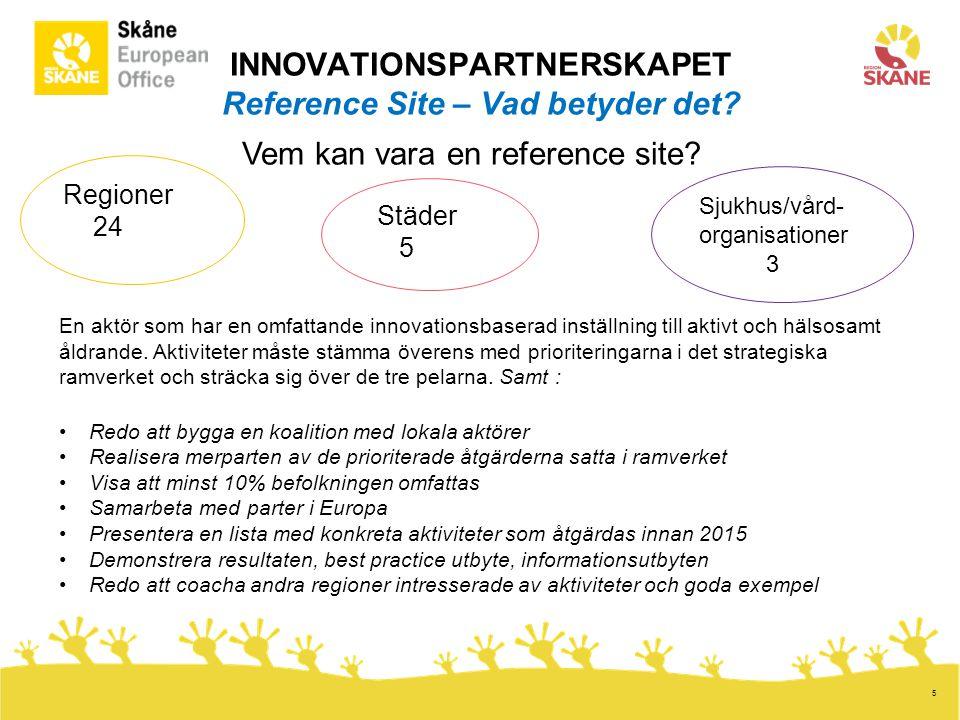 5 HUVUDMÅL 76 partners, många konsortier med flera partners 6 arbetsgrupper Best practice, Implementation Trappa upp 1.