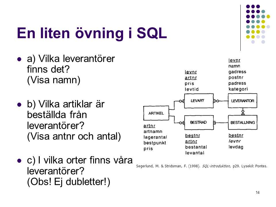 14 En liten övning i SQL  a) Vilka leverantörer finns det? (Visa namn)  b) Vilka artiklar är beställda från leverantörer? (Visa antnr och antal)  c