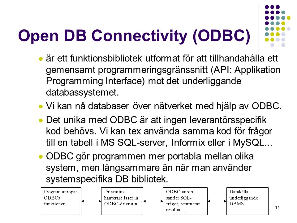 17 Program anropar ODBCs funktioner Open DB Connectivity (ODBC)  är ett funktionsbibliotek utformat för att tillhandahålla ett gemensamt programmeringsgränssnitt (API: Applikation Programming Interface) mot det underliggande databassystemet.