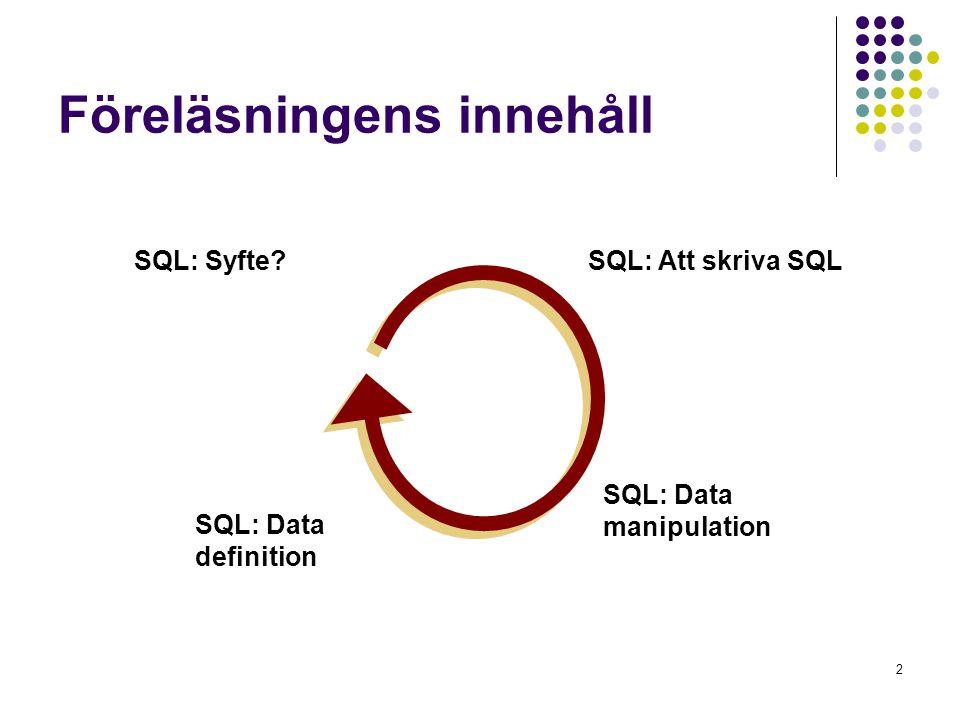 2 Föreläsningens innehåll SQL: Att skriva SQL SQL: Data definition SQL: Data manipulation SQL: Syfte?