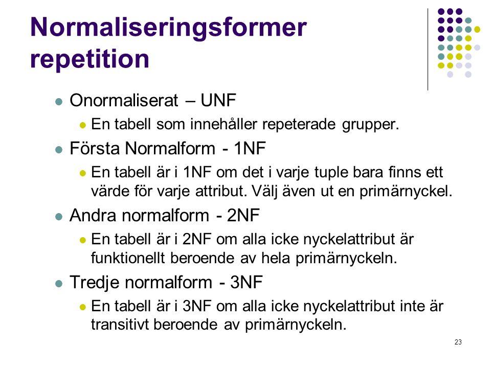 23 Normaliseringsformer repetition  Onormaliserat – UNF  En tabell som innehåller repeterade grupper.  Första Normalform - 1NF  En tabell är i 1NF
