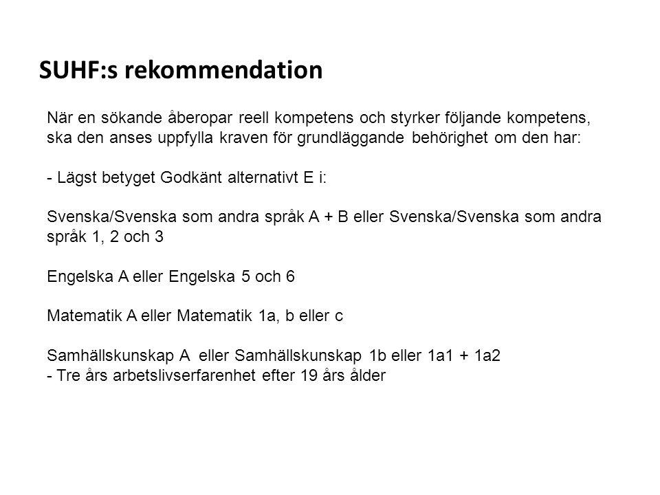 Sv SUHF:s rekommendation När en sökande åberopar reell kompetens och styrker följande kompetens, ska den anses uppfylla kraven för grundläggande behör