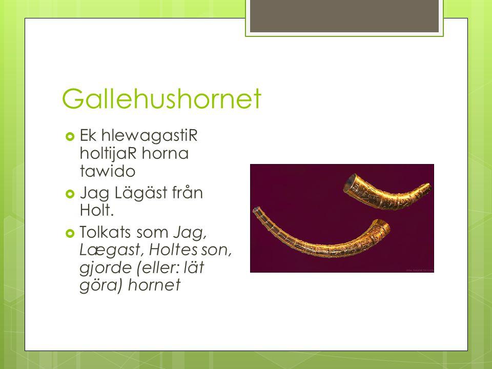 Gallehushornet  Ek hlewagastiR holtijaR horna tawido  Jag Lägäst från Holt.