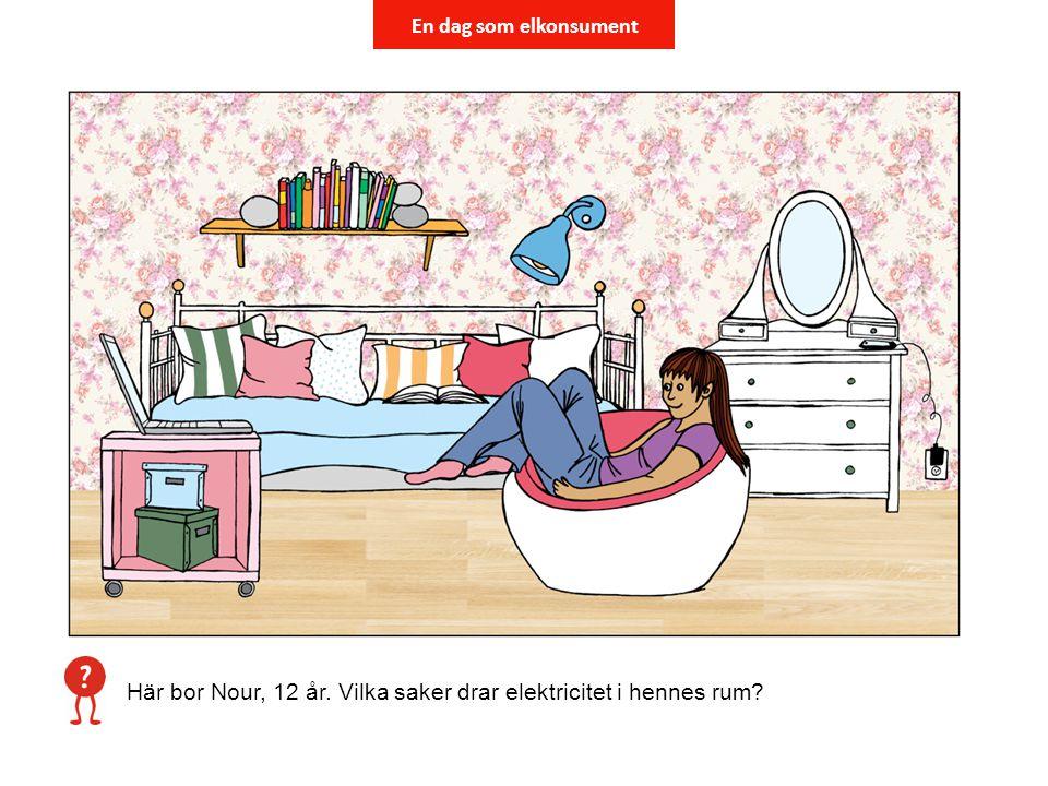 En dag som elkonsument Här bor Nour, 12 år. Vilka saker drar elektricitet i hennes rum?