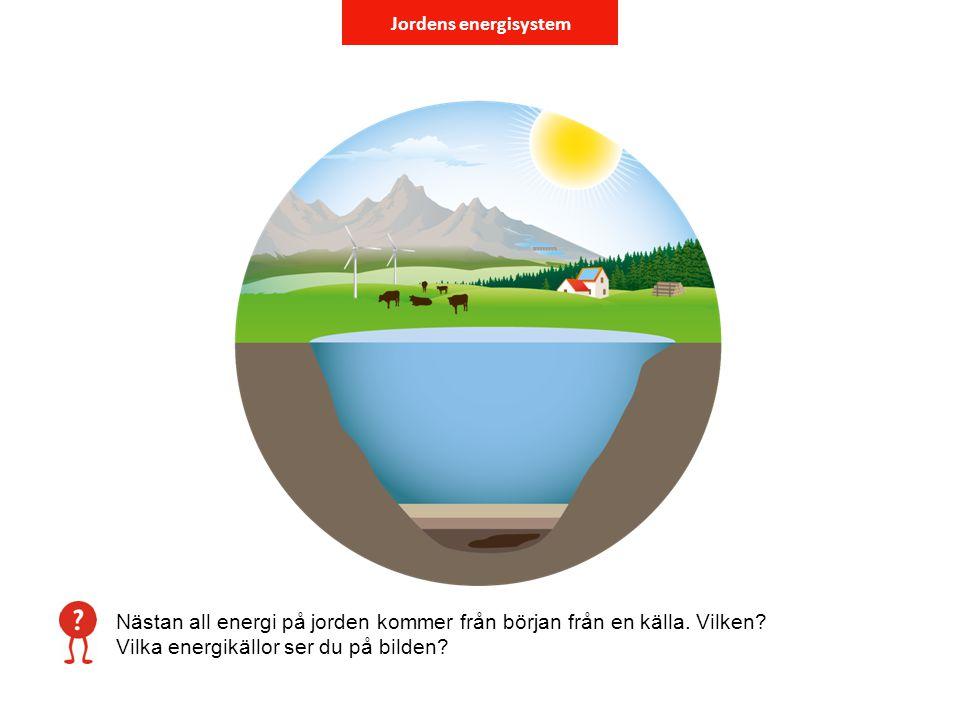 Jordens energisystem Nästan all energi på jorden kommer från början från en källa. Vilken? Vilka energikällor ser du på bilden?