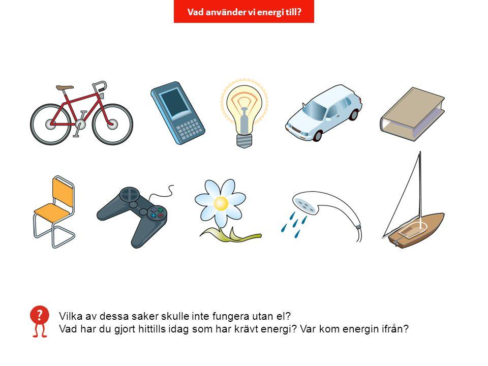 Vilka av dessa saker skulle inte fungera utan el? Vad har du gjort hittills idag som har krävt energi? Var kom energin ifrån? Vad använder vi energi t