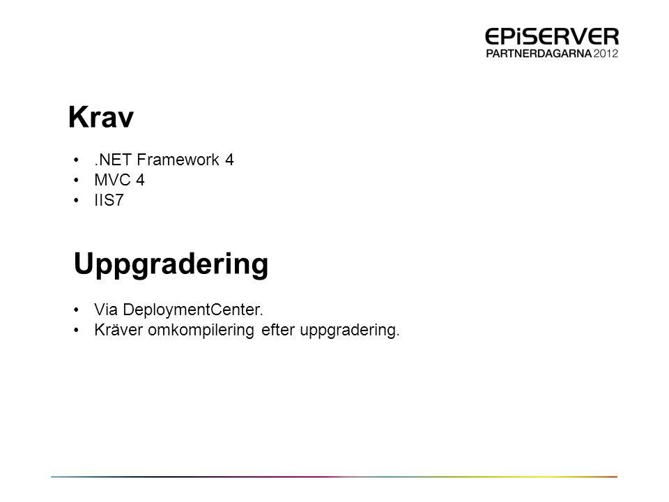Krav •.NET Framework 4 •MVC 4 •IIS7 Uppgradering •Via DeploymentCenter. •Kräver omkompilering efter uppgradering.