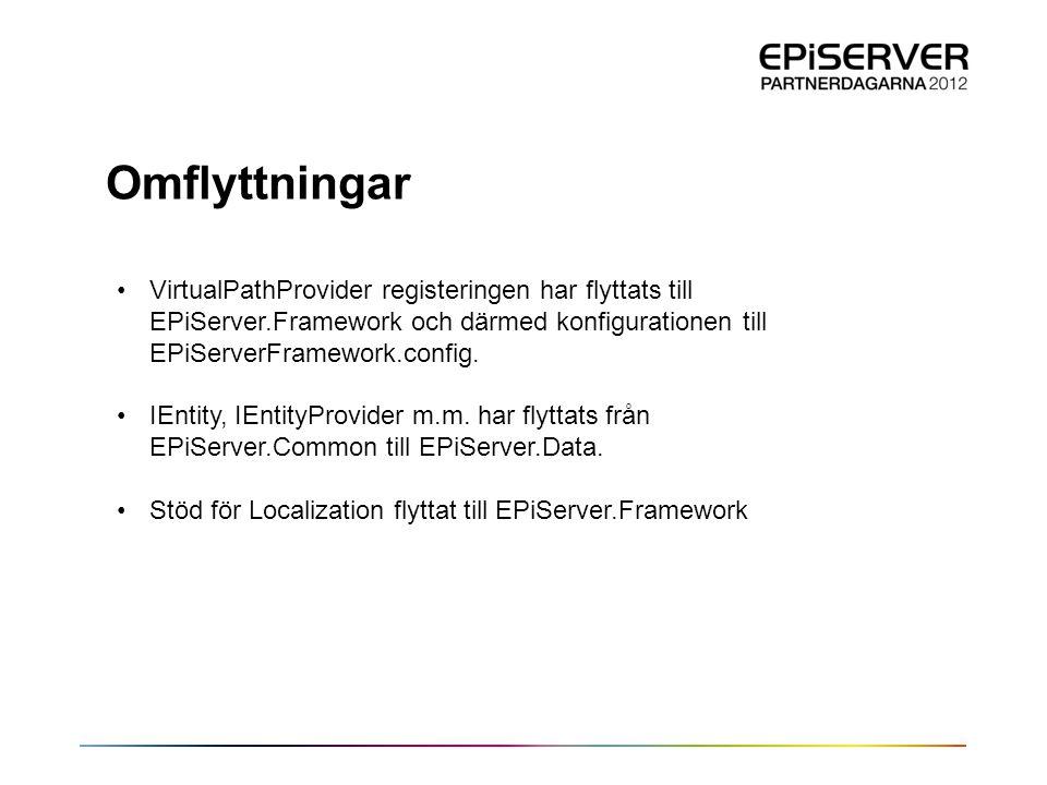 Omflyttningar •VirtualPathProvider registeringen har flyttats till EPiServer.Framework och därmed konfigurationen till EPiServerFramework.config. •IEn