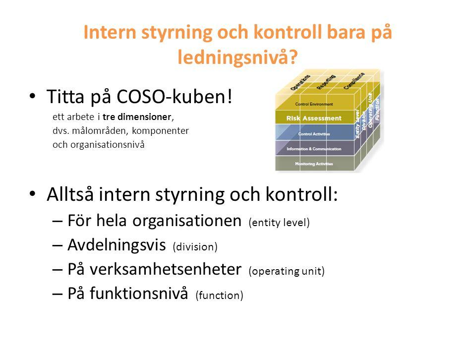 Intern styrning och kontroll bara på ledningsnivå? • Titta på COSO-kuben! ett arbete i tre dimensioner, dvs. målområden, komponenter och organisations