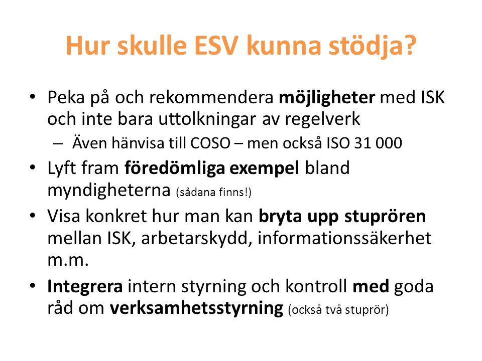 Hur skulle ESV kunna stödja? • Peka på och rekommendera möjligheter med ISK och inte bara uttolkningar av regelverk – Även hänvisa till COSO – men ock