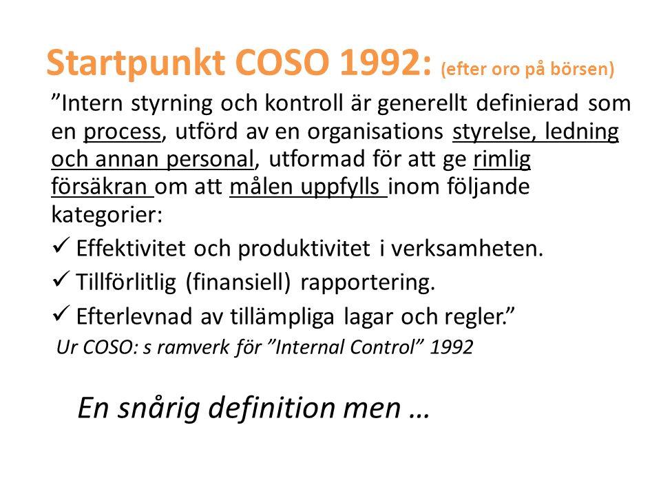 """Startpunkt COSO 1992: ( efter oro på börsen) """"Intern styrning och kontroll är generellt definierad som en process, utförd av en organisations styrelse"""
