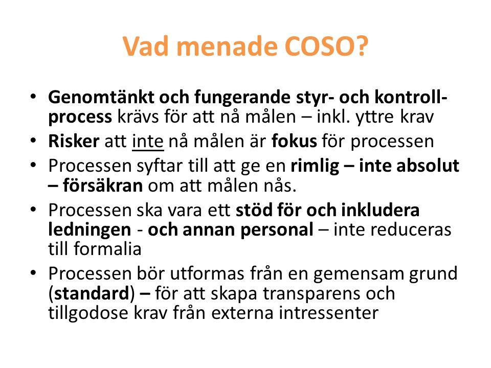 Vad menade COSO? • Genomtänkt och fungerande styr- och kontroll- process krävs för att nå målen – inkl. yttre krav • Risker att inte nå målen är fokus