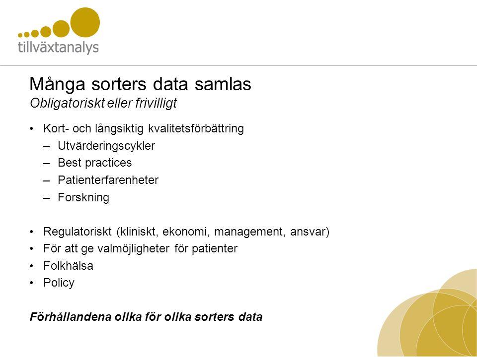 Många sorters data samlas Obligatoriskt eller frivilligt •Kort- och långsiktig kvalitetsförbättring –Utvärderingscykler –Best practices –Patienterfare
