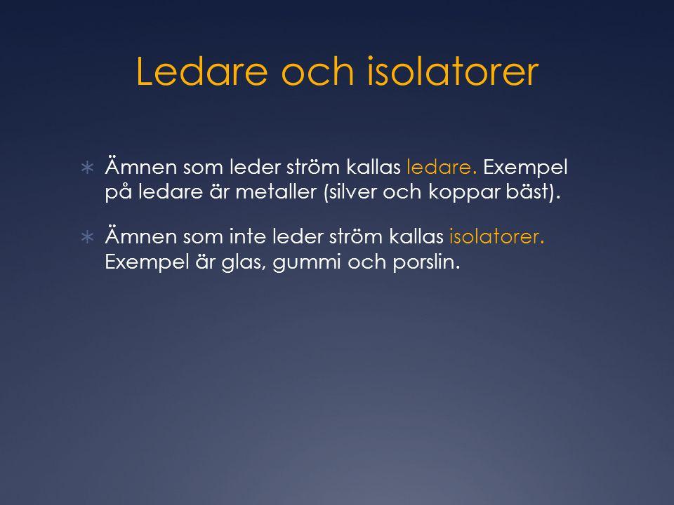 Ledare och isolatorer  Ämnen som leder ström kallas ledare.