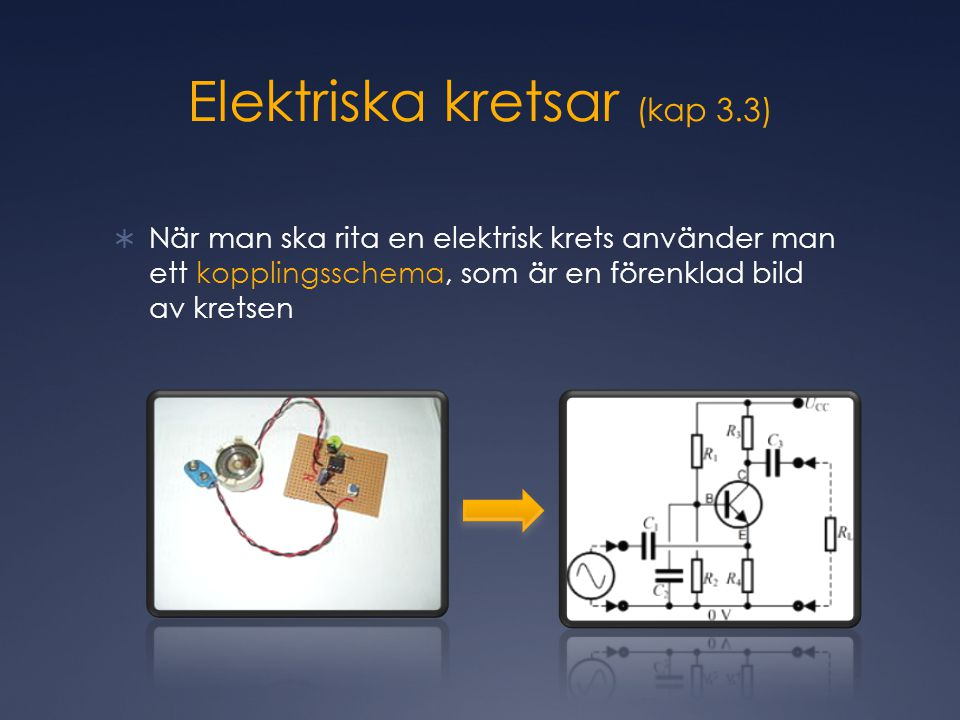 Elektriska kretsar (kap 3.3)  När man ska rita en elektrisk krets använder man ett kopplingsschema, som är en förenklad bild av kretsen