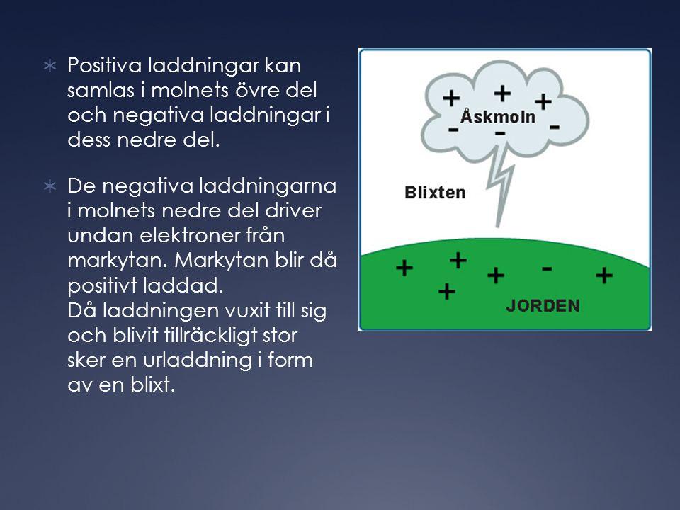  Positiva laddningar kan samlas i molnets övre del och negativa laddningar i dess nedre del.