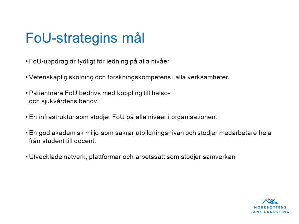 FoU-strategins mål •FoU-uppdrag är tydligt för ledning på alla nivåer •Vetenskaplig skolning och forskningskompetens i alla verksamheter.