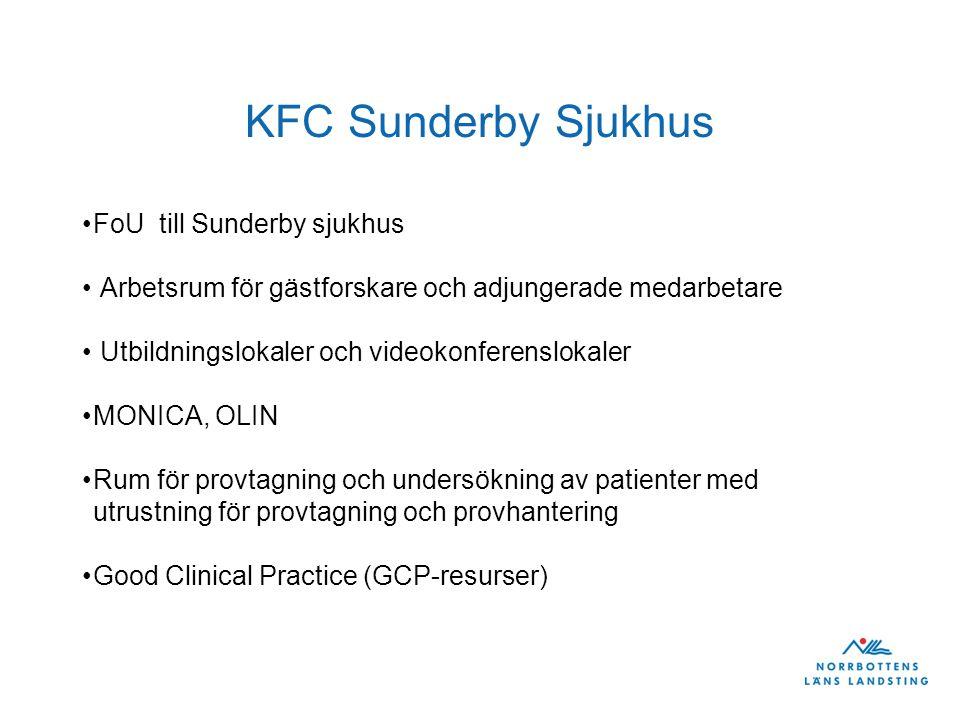 KFC Sunderby Sjukhus •FoU till Sunderby sjukhus • Arbetsrum för gästforskare och adjungerade medarbetare • Utbildningslokaler och videokonferenslokaler •MONICA, OLIN •Rum för provtagning och undersökning av patienter med utrustning för provtagning och provhantering •Good Clinical Practice (GCP-resurser)