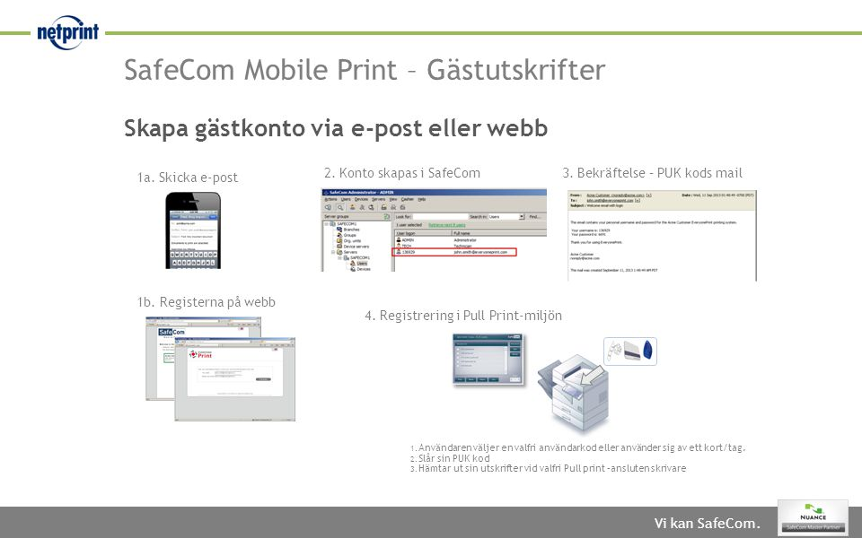 Vi kan SafeCom. SafeCom Mobile Print – Gästutskrifter 1a. Skicka e-post 2. Konto skapas i SafeCom3. Bekräftelse – PUK kods mail Skapa gästkonto via e-