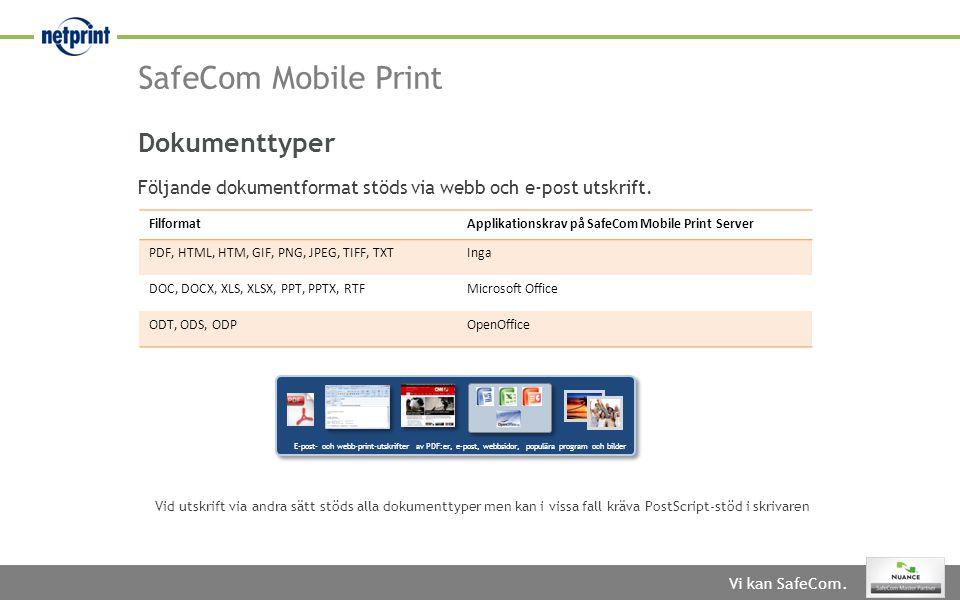 Vi kan SafeCom. SafeCom Mobile Print FilformatApplikationskrav på SafeCom Mobile Print Server PDF, HTML, HTM, GIF, PNG, JPEG, TIFF, TXTInga DOC, DOCX,