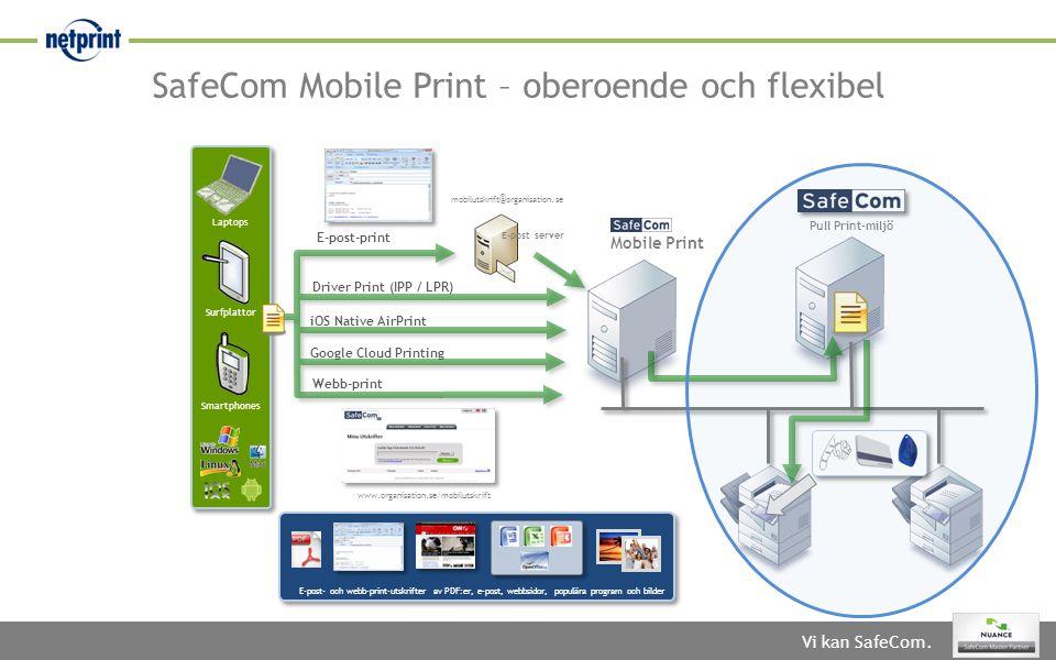 Vi kan SafeCom. SafeCom Mobile Print – oberoende och flexibel Mobile Print E-post server Driver Print (IPP / LPR) Smartphones Surfplattor Laptops E-po