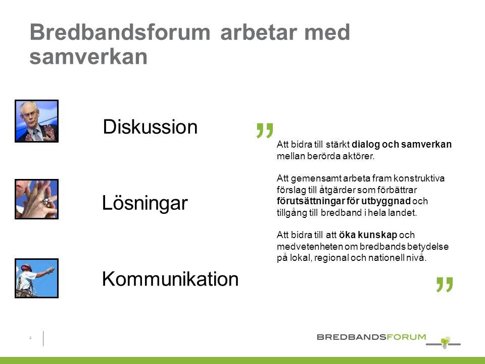 Bredbandsforum arbetar med samverkan Lösningar Diskussion Kommunikation Att bidra till stärkt dialog och samverkan mellan berörda aktörer.