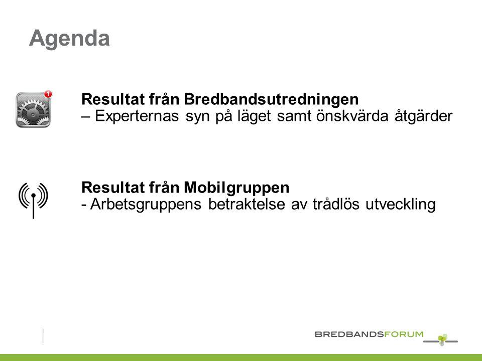 Agenda Resultat från Bredbandsutredningen – Experternas syn på läget samt önskvärda åtgärder Resultat från Mobilgruppen - Arbetsgruppens betraktelse av trådlös utveckling