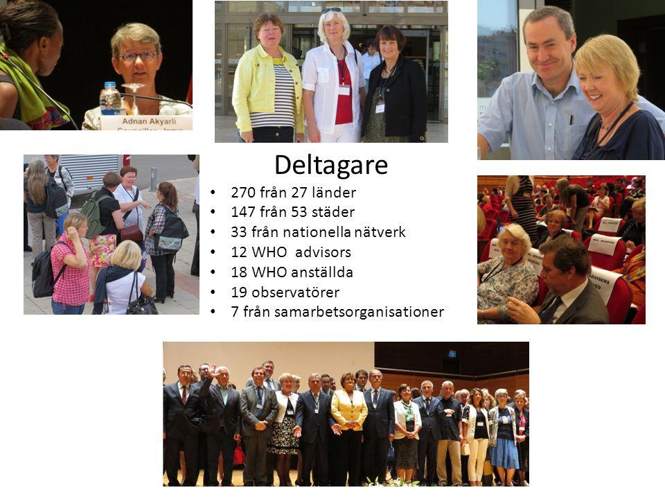 Deltagare • 270 från 27 länder • 147 från 53 städer • 33 från nationella nätverk • 12 WHO advisors • 18 WHO anställda • 19 observatörer • 7 från samarbetsorganisationer