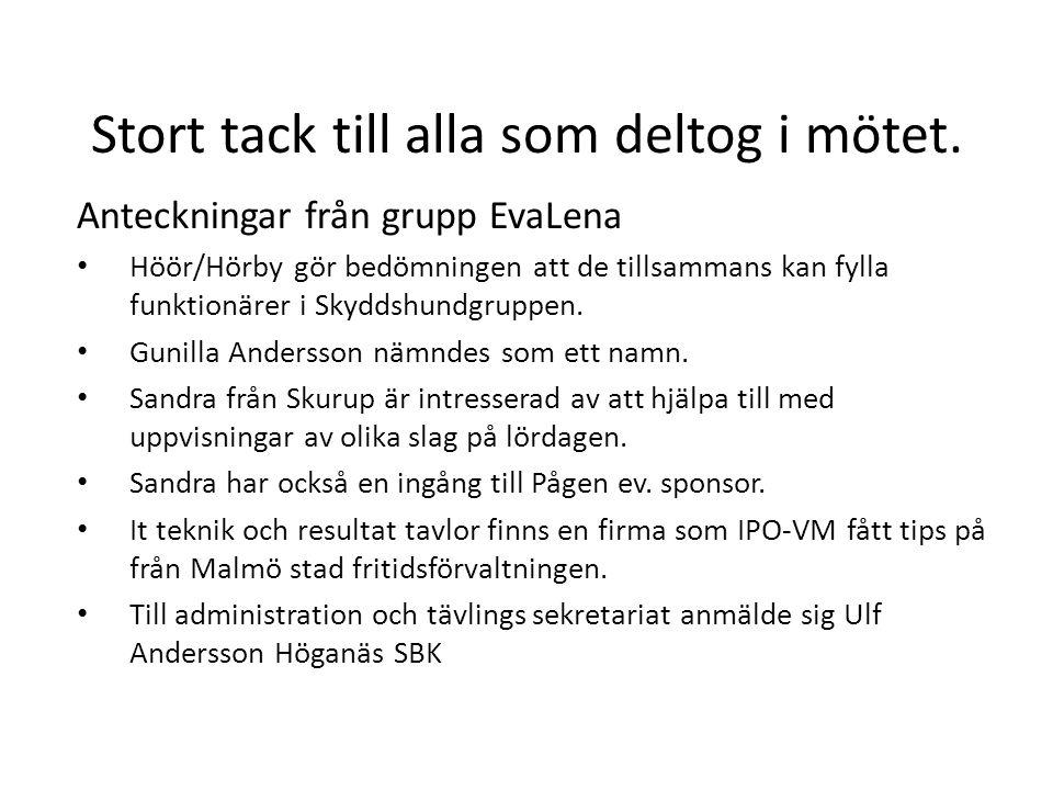Stort tack till alla som deltog i mötet. Anteckningar från grupp EvaLena • Höör/Hörby gör bedömningen att de tillsammans kan fylla funktionärer i Skyd