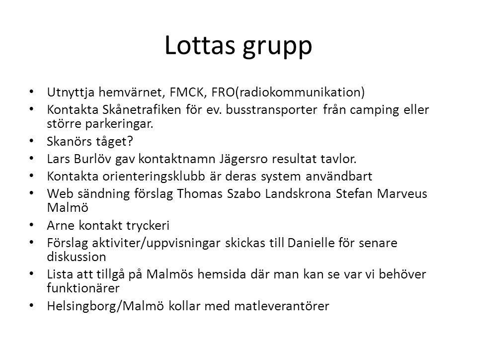 Lottas grupp • Utnyttja hemvärnet, FMCK, FRO(radiokommunikation) • Kontakta Skånetrafiken för ev. busstransporter från camping eller större parkeringa